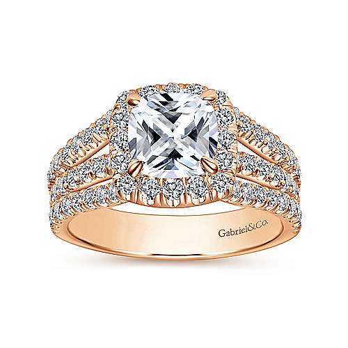 Sabrina 14k Rose Gold Cushion Cut Halo Engagement Ring angle 5