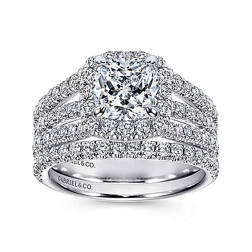 Sabrina 14k White Gold Cushion Cut Halo Engagement Ring