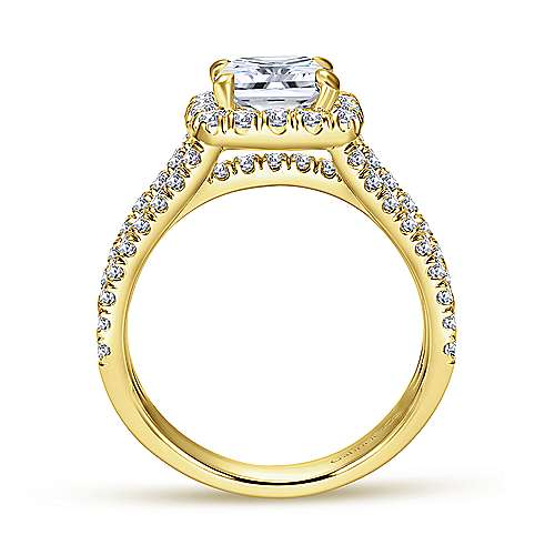 Sabrina 14k Yellow Gold Cushion Cut Halo Engagement Ring angle 2
