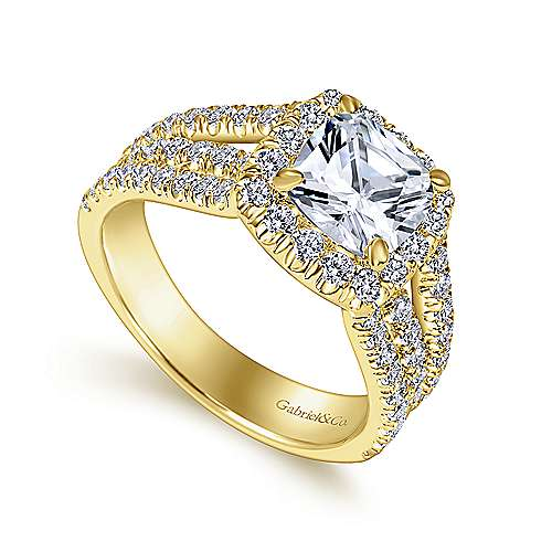 Sabrina 14k Yellow Gold Cushion Cut Halo Engagement Ring angle 3