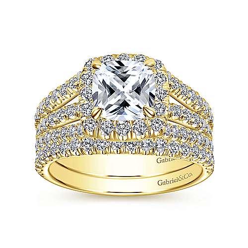 Sabrina 14k Yellow Gold Cushion Cut Halo Engagement Ring angle 4