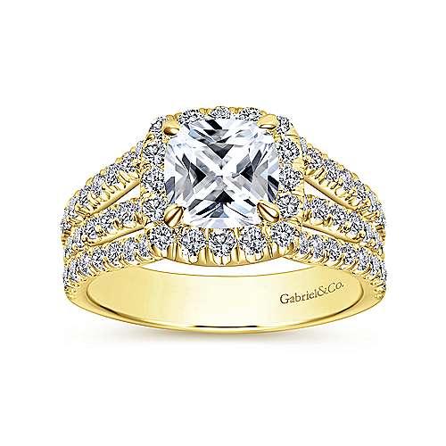 Sabrina 14k Yellow Gold Cushion Cut Halo Engagement Ring