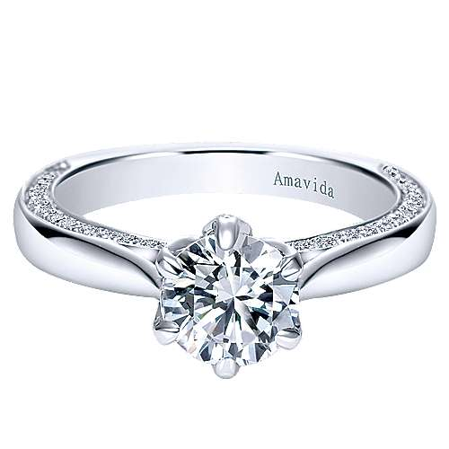 Sacred 18k White Gold Round Straight Engagement Ring angle 1