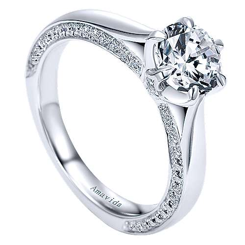 Sacred 18k White Gold Round Straight Engagement Ring angle 3
