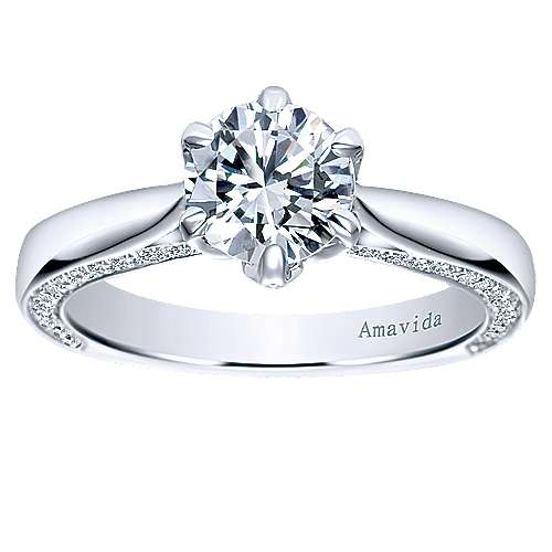 Sacred 18k White Gold Round Straight Engagement Ring angle 5