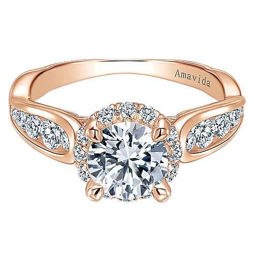 Sade 18k Rose Gold Round Halo Engagement Ring angle 1