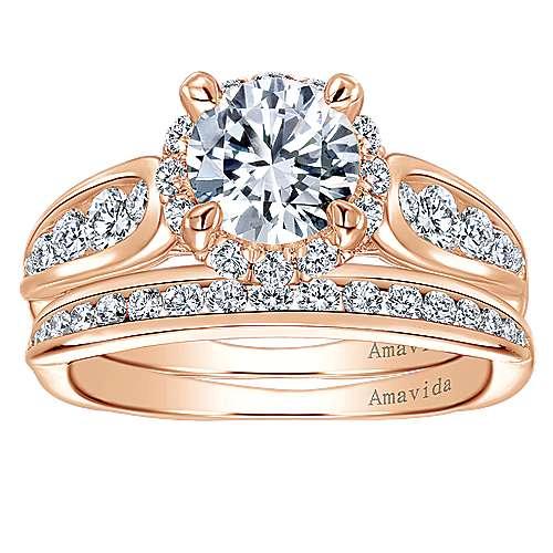 Sade 18k Rose Gold Round Halo Engagement Ring angle 4