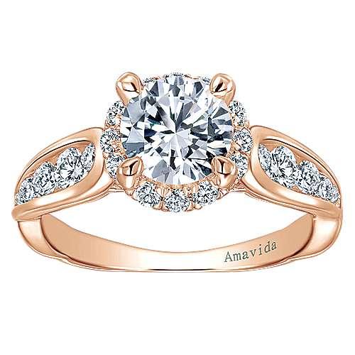 Sade 18k Rose Gold Round Halo Engagement Ring angle 5