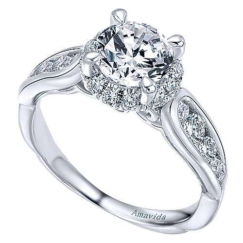 Sade 18k White Gold Round Halo Engagement Ring angle 3