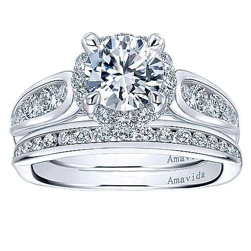 Sade 18k White Gold Round Halo Engagement Ring angle 4