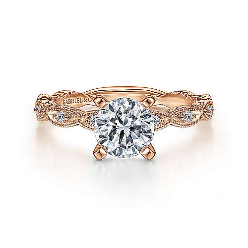 Gabriel - Sadie 14k Rose Gold Round Straight Engagement Ring