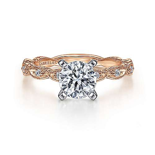 Gabriel - Sadie 14k White And Rose Gold Round Straight Engagement Ring