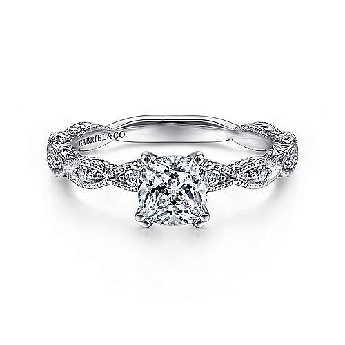 Gabriel - Sadie 14k White Gold Cushion Cut Straight Engagement Ring