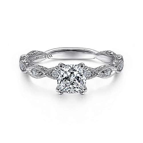 Gabriel - Sadie 14k White Gold Cushion Cut Straight Engagement Ring