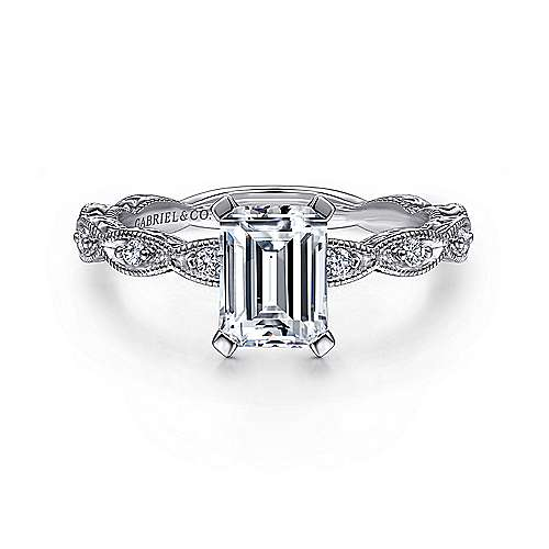 Gabriel - Sadie 14k White Gold Emerald Cut Straight Engagement Ring
