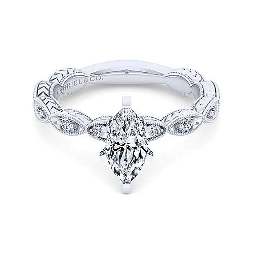 Gabriel - Sadie 14k White Gold Marquise  Straight Engagement Ring