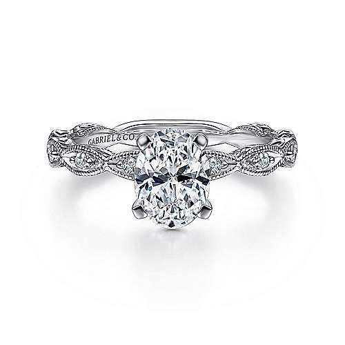 Gabriel - Sadie 14k White Gold Oval Straight Engagement Ring