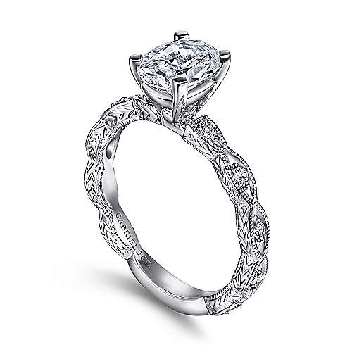 Sadie 14k White Gold Oval Straight Engagement Ring angle 3