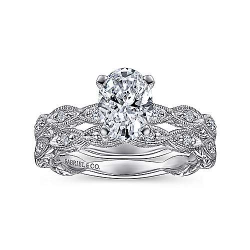 Sadie 14k White Gold Oval Straight Engagement Ring angle 4
