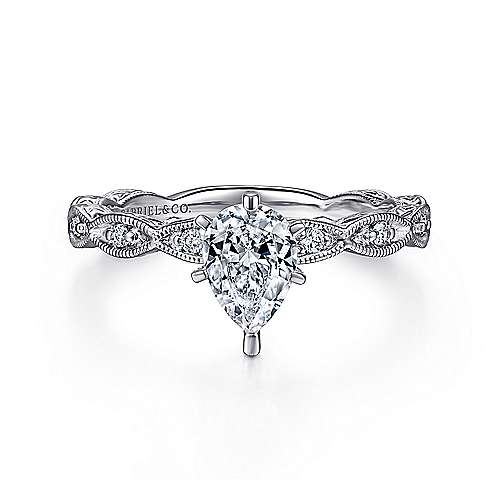 Sadie 14k White Gold Pear Shape Straight Engagement Ring angle 1