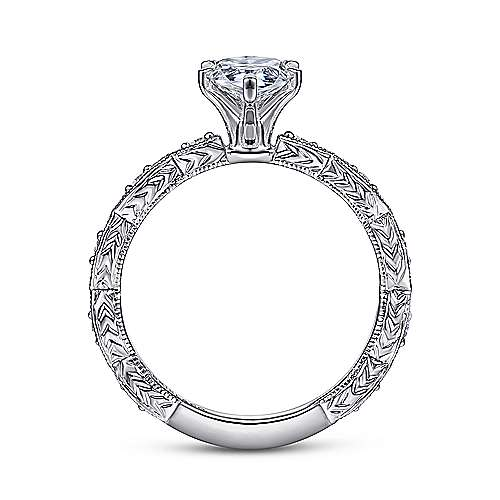 Sadie 14k White Gold Pear Shape Straight Engagement Ring angle 2