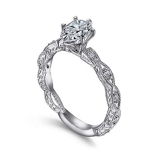 Sadie 14k White Gold Pear Shape Straight Engagement Ring angle 3