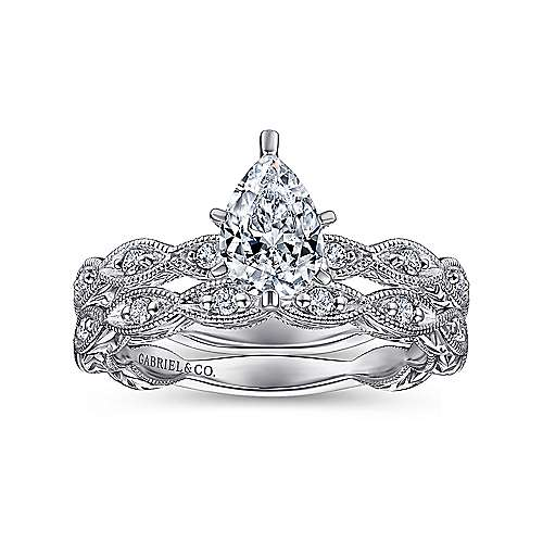 Sadie 14k White Gold Pear Shape Straight Engagement Ring angle 4