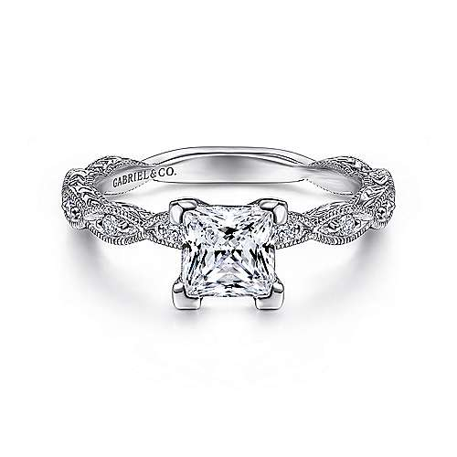 Gabriel - Sadie 14k White Gold Princess Cut Straight Engagement Ring