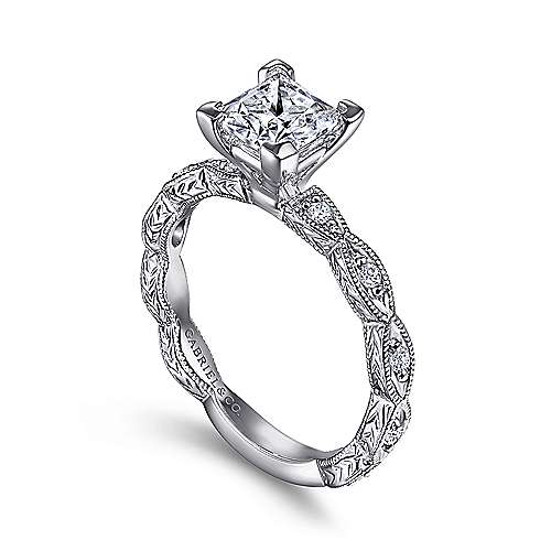 Sadie 14k White Gold Princess Cut Straight Engagement Ring angle 3