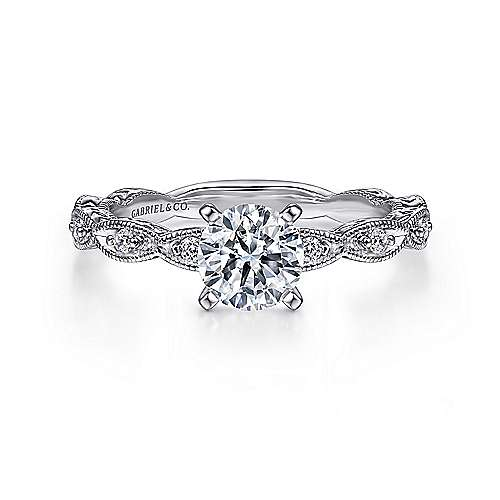 Gabriel - Sadie 14k White Gold Round Straight Engagement Ring