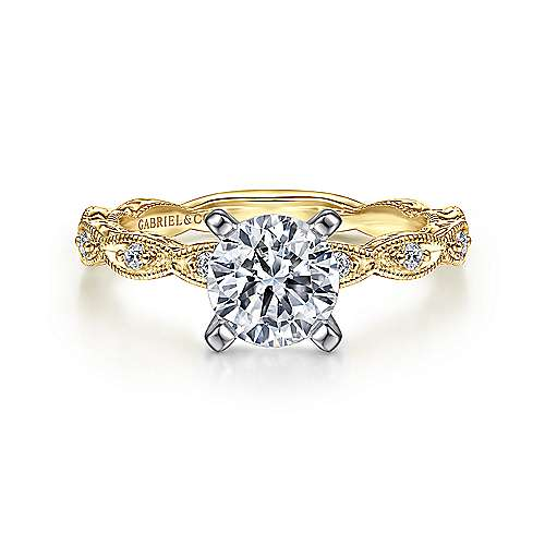 Gabriel - Sadie 14k Yellow And White Gold Round Straight Engagement Ring