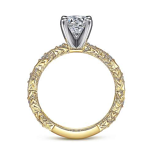 Sadie 14k Yellow And White Gold Round Straight Engagement Ring angle 2