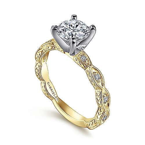 Sadie 14k Yellow And White Gold Round Straight Engagement Ring angle 3