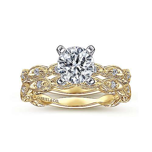 Sadie 14k Yellow And White Gold Round Straight Engagement Ring angle 4