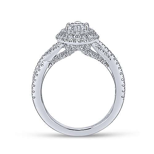 Saffron 14k White Gold Marquise  Double Halo Engagement Ring angle 2