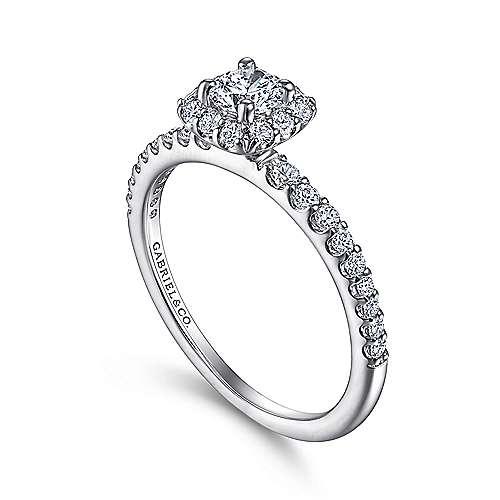 Sagada 14k White Gold Round Halo Engagement Ring