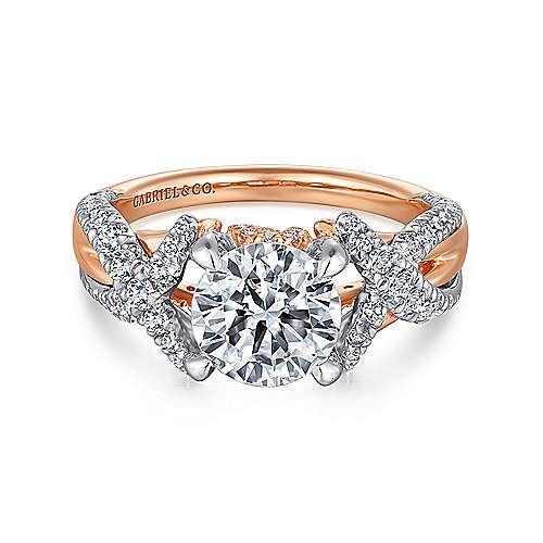 Gabriel - Sage 18k White And Rose Gold Round Twisted Engagement Ring