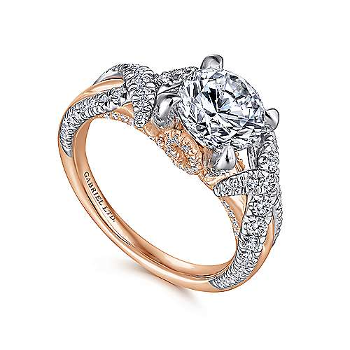 Sage 18k White And Rose Gold Round Twisted Engagement Ring angle 3