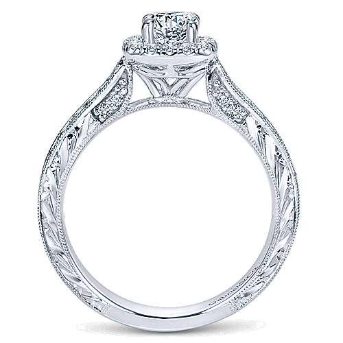 Saki 14k White Gold Round Halo Engagement Ring angle 2
