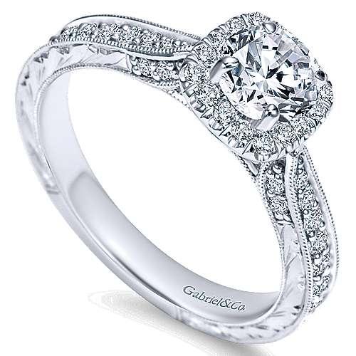 Saki 14k White Gold Round Halo Engagement Ring angle 3