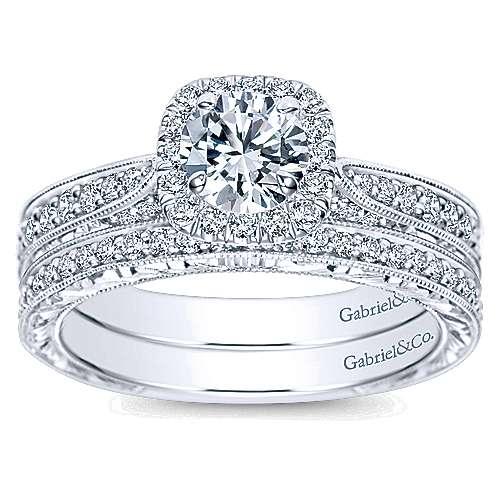 Saki 14k White Gold Round Halo Engagement Ring angle 4