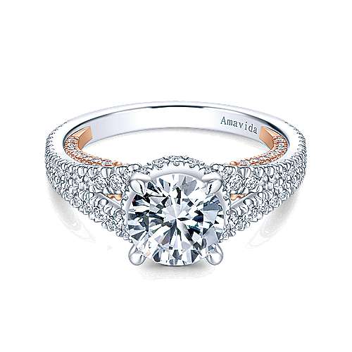 Gabriel - Sally 18k White And Rose Gold Round Halo Engagement Ring