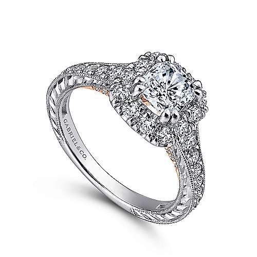 Samantha 14k White And Rose Gold Cushion Cut Halo Engagement Ring angle 3
