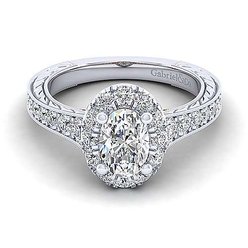 Gabriel - Samantha 14k White And Rose Gold Oval Halo Engagement Ring