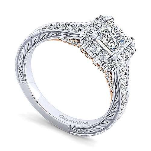 Samantha 14k White And Rose Gold Princess Cut Halo Engagement Ring angle 3