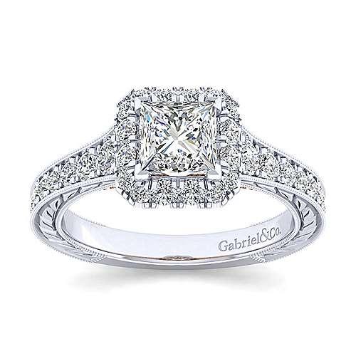 Samantha 14k White And Rose Gold Princess Cut Halo Engagement Ring angle 5
