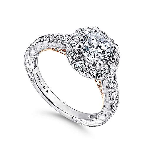 Samantha 14k White And Rose Gold Round Halo Engagement Ring angle 3
