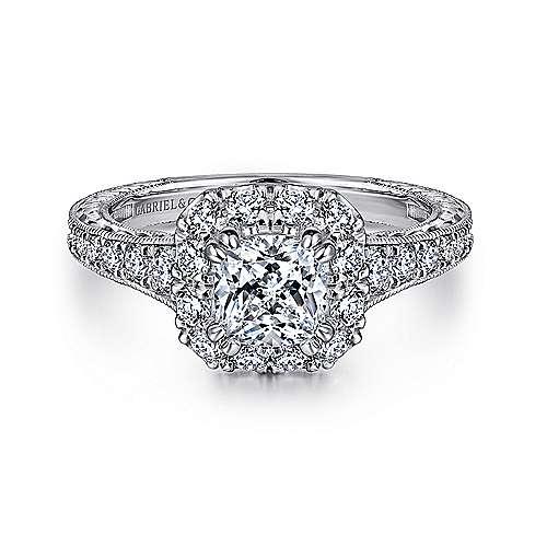 Gabriel - Samantha 14k White Gold Cushion Cut Halo Engagement Ring