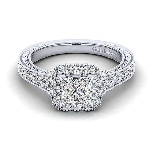 Gabriel - Samantha 14k White Gold Princess Cut Halo Engagement Ring