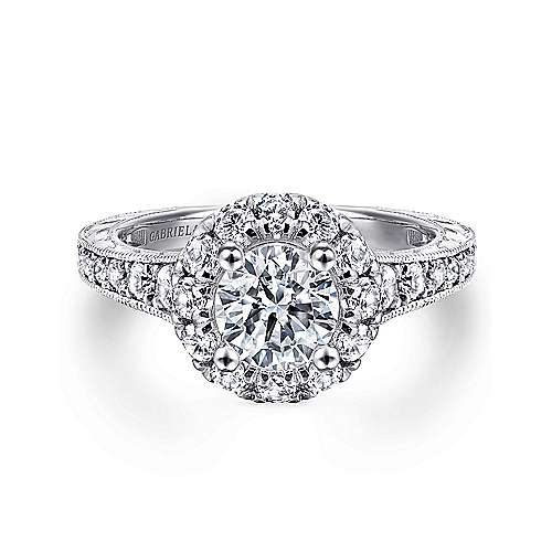 Gabriel - Samantha 14k White Gold Round Halo Engagement Ring